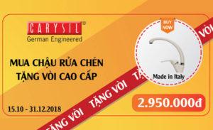 Khuyến Mãi Tặng Vòi Cuối Năm 2018 – Carysil Việt Nam